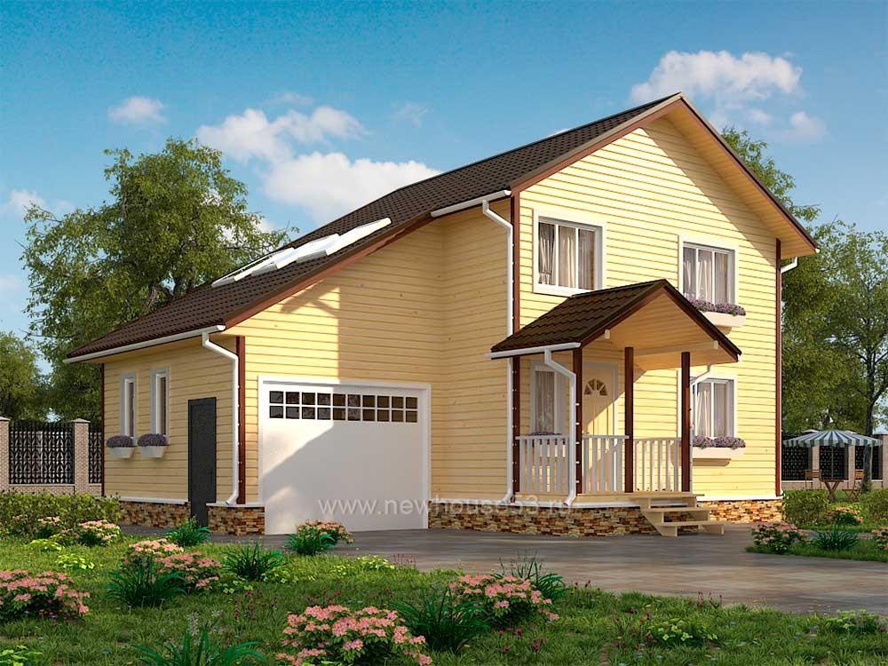 Каркасный дом с гаражом 8х11м