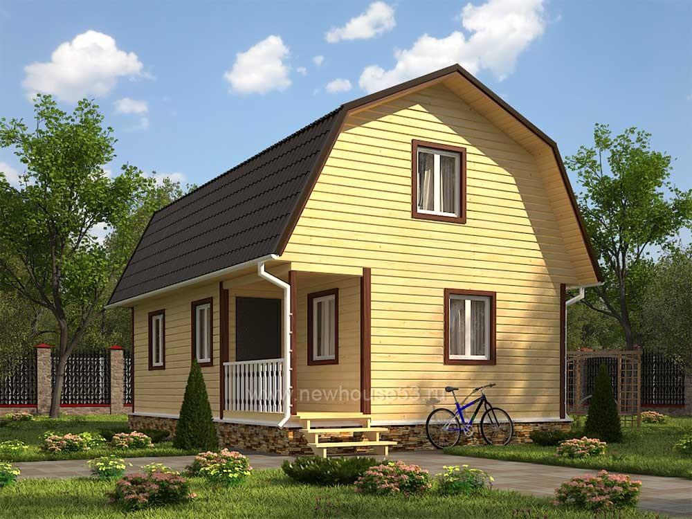 Каркасный дачный дом 6х9м