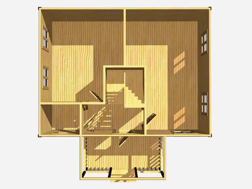 Дом из бруса 8 на 8. Проект Д-12