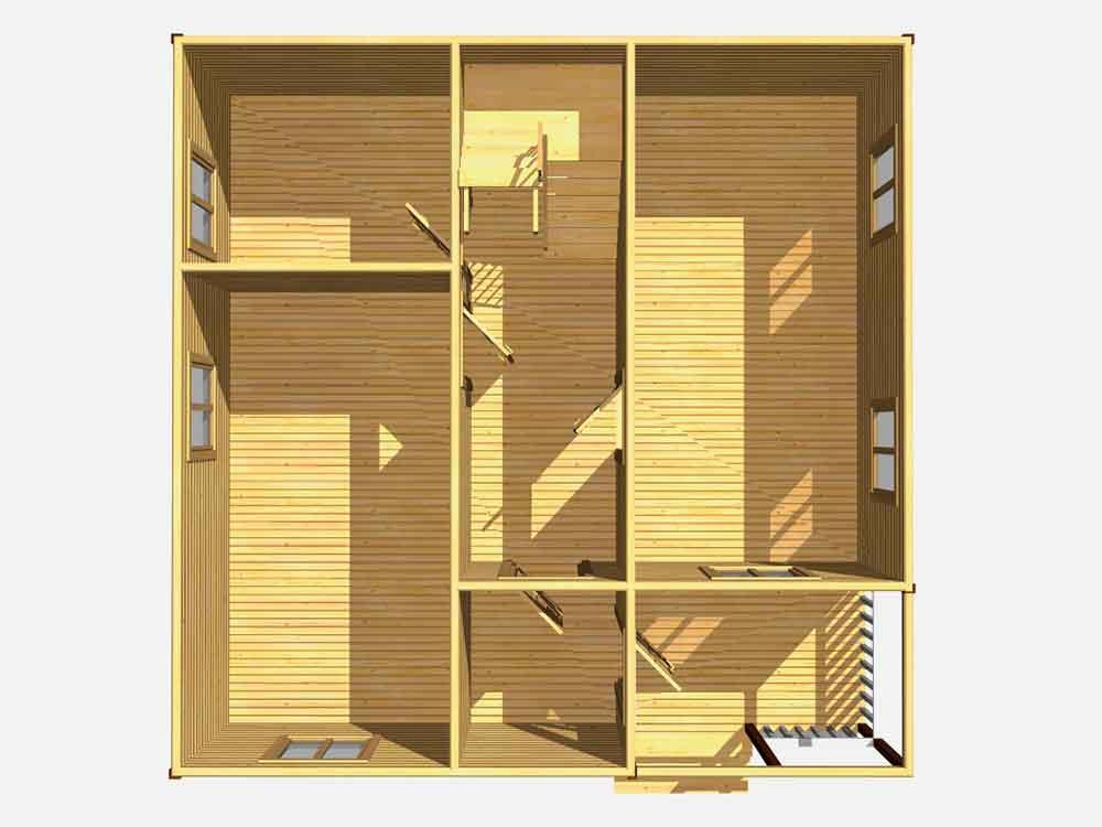 Дом из бруса 8 на 8. Проект Д-18