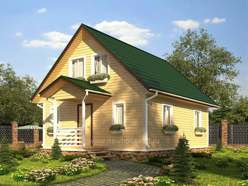Проект дома из клееного бруса 7х9.5м