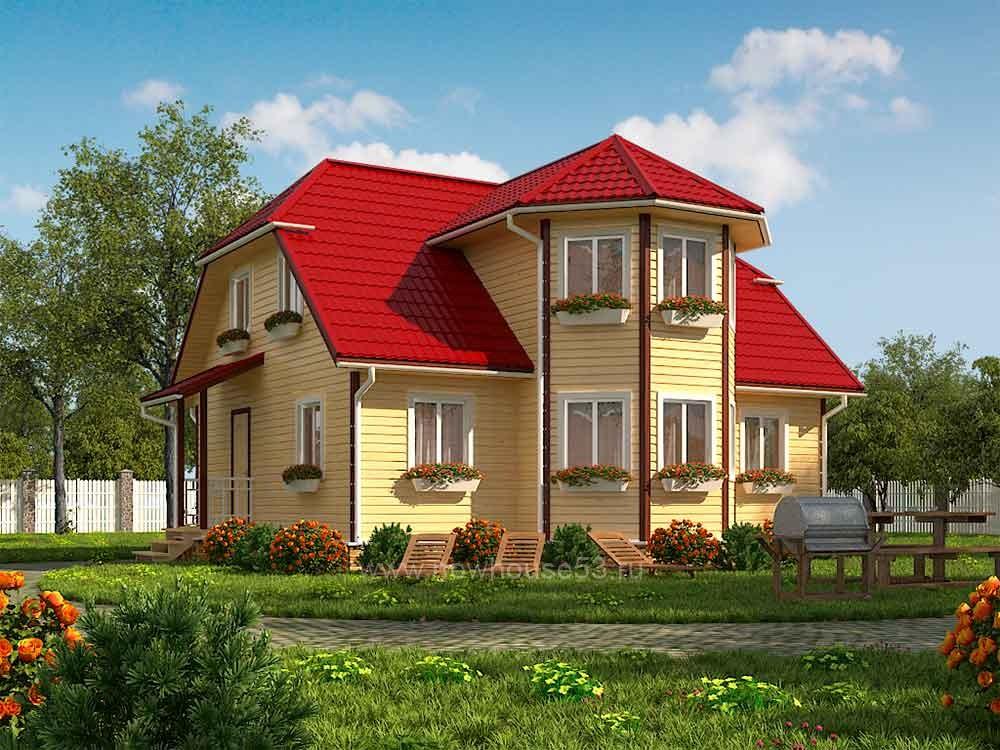 Двухэтажный каркасный дом 8х10м