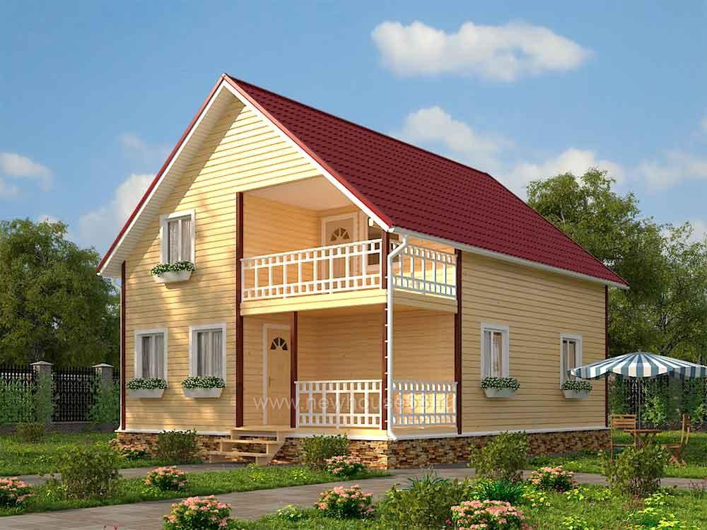 Каркасный дом с мансардой проект Д-29