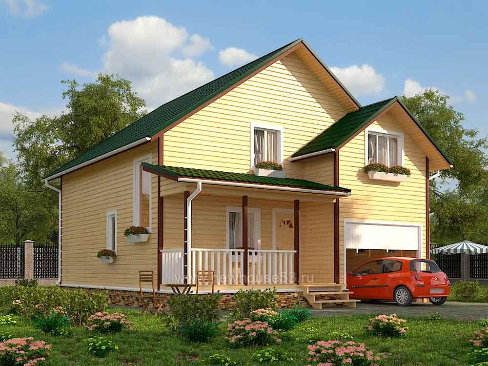 Каркасный дом с гаражом 9х10м