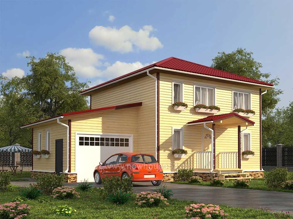 Большой каркасный дом 8х12м