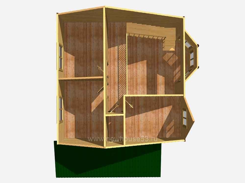 Каркасный дом 8 на 8 с мансардой